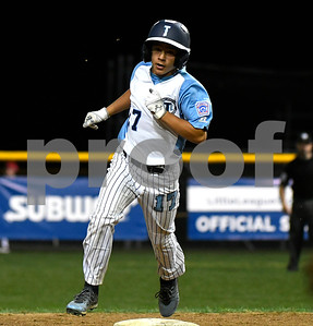 8/10/2017 Mike Orazzi | Staff Maryland's Logan Simanski (17) rounds the bases after his two run home run against Delaware in the Eastern Regional Little League Tournament at Breen Field in Bristol Thursday night.