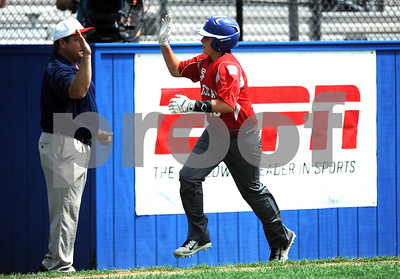 8/10/2017 Mike Orazzi | Staff Maine's Nolan Hobbs (19) rips a home run during the Eastern Regional Little League game with Vermont at Breen Field in Bristol Thursday.