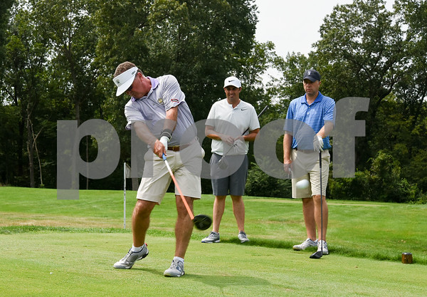 081417 Wesley Bunnell | Staff Head golf professional Tim Gavronski of Shuttle Meadow Country Club held 100 Holes for Junior Golf on Monday afternoon to raise funds for the CT PGA Golf Foundations which supports Junior golf in CT. Also participating with Tim were Kyle Hedstrom of Stanley Golf Course and Marc Bayram of Timberlin Golf Course. Tim Gavronski, tees off on the 18th hole as fellow participants Marc Bayram, L, and Kyle Hedstrom look on.