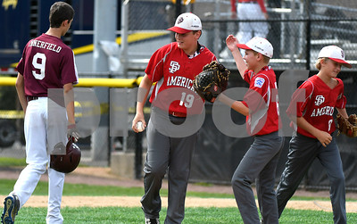 8/11/2017 Mike Orazzi | Staff South Portland American Little Leaguers celebrate a win over New Hampshire during the Eastern Regional Little League game at Breen Field in Bristol Friday.