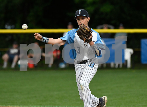 8/12/2017 Mike Orazzi | Staff Marylands Josh Skowronski (3) during the Mid-Atlantic Regional Final during the Eastern Regional Little League Tournament at Breen Field in Bristol Saturday night.