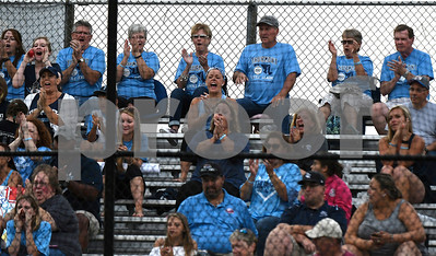 8/12/2017 Mike Orazzi | Staff Fans of Maryland's Thurmont Little League before the start of the Mid-Atlantic Regional Final during the Eastern Regional Little League Tournament at Breen Field in Bristol Saturday night.