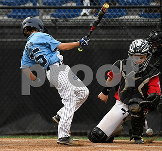 8/12/2017 Mike Orazzi | Staff Maryland's DJ Shipton (35) hit by a pitch at the Mid-Atlantic Regional Final during the Eastern Regional Little League Tournament at Breen Field in Bristol Saturday night.