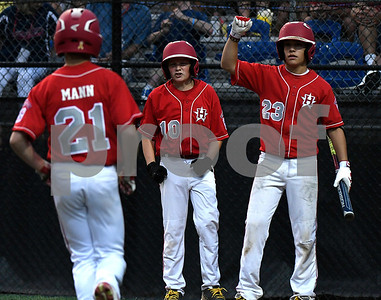 8/12/2017 Mike Orazzi | Staff New Jersey's Tai Mann (21) after his home run during the Mid-Atlantic Regional Final at the Eastern Regional Little League Tournament at Breen Field in Bristol Saturday night.