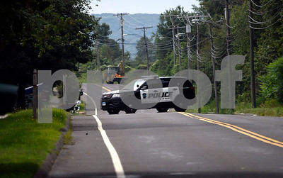 8/15/2017 Mike Orazzi | Staff A closed Hill Street between James P. Casey Road and Marsh Road after a gas line was ruptured Tuesday morning in Bristol.