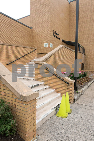 081817 Wesley Bunnell | Staff The steps behind the New Britain Public Library will undergo repairs next week and will be closed for use. Visitors will need to use the adjacent ramp to enter the rear of the building.