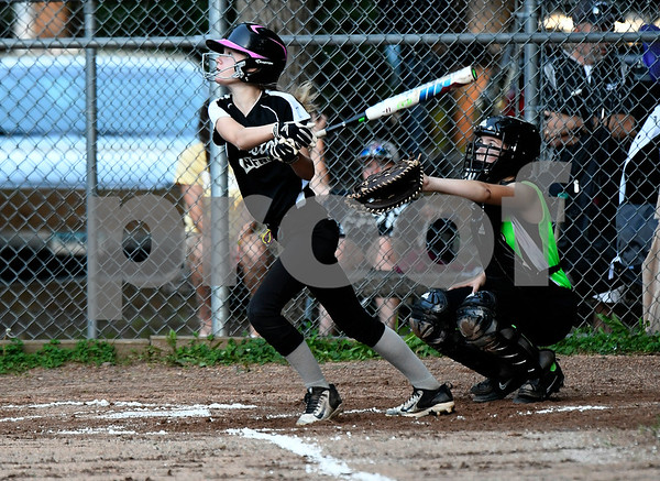 8/23/2017 Mike Orazzi | Staff Bristol Nitro's Sophia Bouchard (8) during the city series in Rockwell Park Tuesday evening.