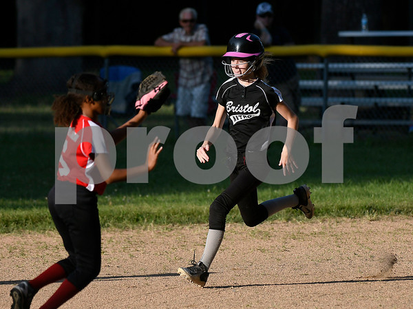 8/24/2017 Mike Orazzi | Staff Nitro's Sophia Bouchard (8) on her way to second during the city series Thursday night.
