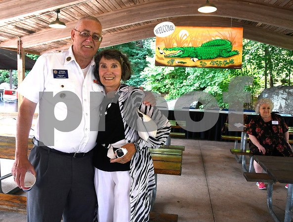 8/24/2017 Mike Orazzi | Staff Steven McCarty and Susan Sterniak during the annual Crocodile Club Dinner meeting presented by the New England Carousel Museum at Lake Compounce Thursday afternoon.