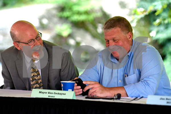 8/24/2017 Mike Orazzi | Staff State senator Joe Markley and Bristol Mayor Ken Cockayne during the annual Crocodile Club Dinner meeting presented by the New England Carousel Museum at Lake Compounce Thursday afternoon.