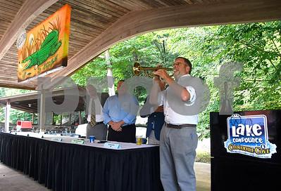 8/24/2017 Mike Orazzi | Staff Scott Heth plays a trumpet solo during the annual Crocodile Club Dinner meeting presented by the New England Carousel Museum at Lake Compounce Thursday afternoon.