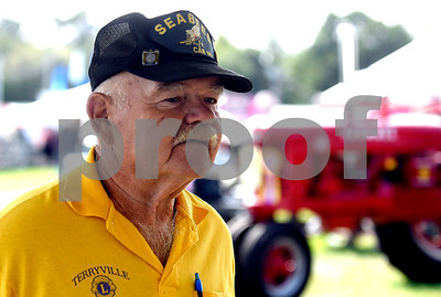 8/26/2017 Mike Orazzi | Staff Joe Mazon near the antique tractors while at the Terryville Lions County Fair Saturday morning.