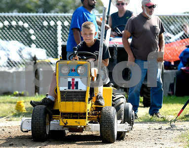 8/26/2017 Mike Orazzi | Staff Brandon Young during the garden tractor pull at the Terryville Lions County Fair Saturday morning.
