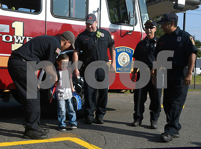 8/31/2017 Mike Orazzi | Staff Leon Blais arrives Tower 1 at the Stafford School for the first day of school in Bristol Thursday.