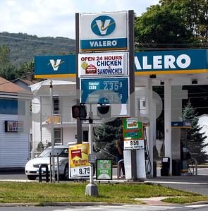 8/31/2017 Mike Orazzi | Staff Gas prices at the Valero on Pine Street in Bristol Thursday.