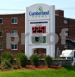 8/31/2017 Mike Orazzi | Staff Gas prices at the Cumberland Farms on Pine Street in Bristol Thursday.
