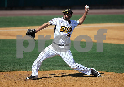 8/31/2017 Mike Orazzi | Staff New Britain Bees' Nick Greenwood (23) on the mound Wednesday morning.