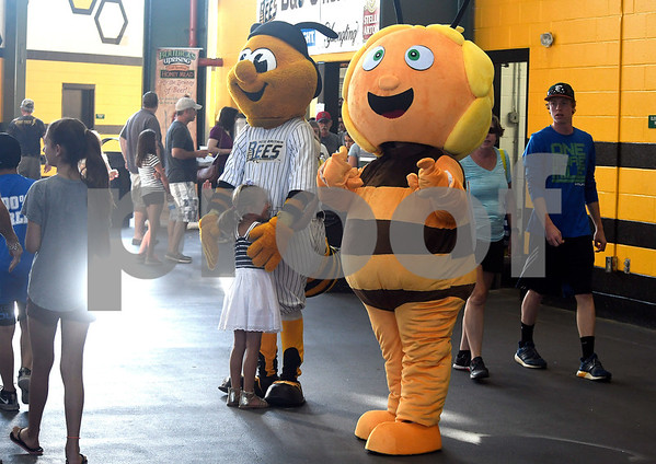 8/5/2017 Mike Orazzi | Staff Maya, a cartoon character popular with Polish children, and New Britain Bees mascot Sting on Polish Heritage Night Saturday.