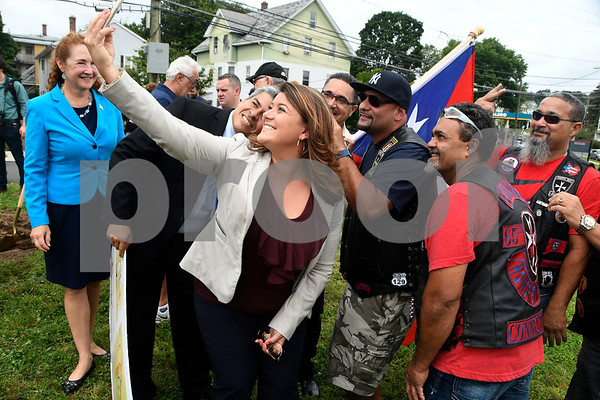 8/5/2017 Mike Orazzi | Staff New Britain Mayor Erin Stewart takes a selfie after the ground breaking for a monument honoring a Puerto Rican regiment of the U.S. Army's 65th Infantry Regiment, known as the Borinqueneers, Saturday in New Britain at the intersection of Beaver and Washington streets, and Farmington Avenue.