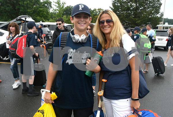 8/5/2017 Mike Orazzi | Staff Plainview Little League's Jake Goldfarb and his mom Linda arrive at the Giamatti Little League Center in Bristol for the start of the Eastern Regional Little Baseball Tournament in Bristol Saturday.