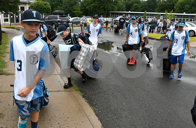 8/5/2017 Mike Orazzi | Staff Members of the Thurmont (MD) Little League team arrive at the Giamatti Little League Center in Bristol for the start of the Eastern Regional Little Baseball Tournament in Bristol Saturday.