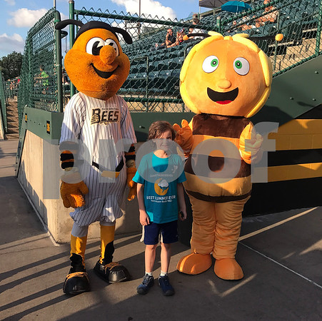 8/5/2017 Mike Orazzi | Staff Maya, a cartoon character popular with Polish children, and New Britain Bees mascot Sting on Polish Heritage Night Saturday with Jack Lewchik,7.