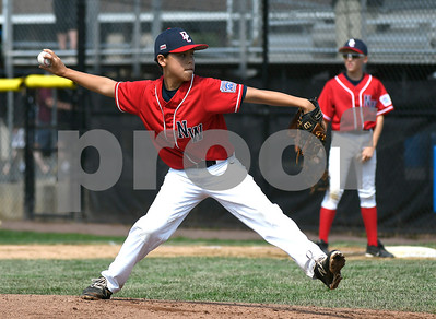 8/6/2017 Mike Orazzi | Staff New Jersey's Dean Daddio (17) during a win over the District of Columbia in the Eastern Regional Little League Tournament held at Breen Field in Bristol Sunday.