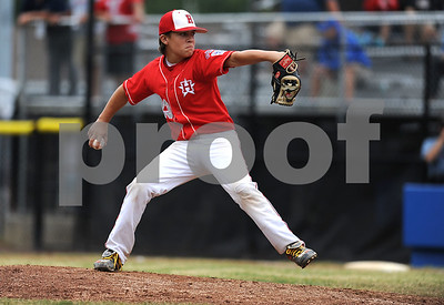8/7/2017 Mike Orazzi | Staff New Jersey's Chris Cartnick (23) during the Eastern Regional Little League Tournament held at Breen Field in Bristol Monday.