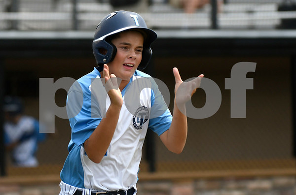 8/8/2017 Mike Orazzi | Staff Maryland's Joey McMannis (21) after his home run during the Eastern Regional Little League Tournament in Bristol Tuesday morning.