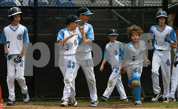 8/8/2017 Mike Orazzi | Staff Maryland celebrates a home run by Joey McMannis (21) during the Eastern Regional Little League Tournament in Bristol Tuesday morning.