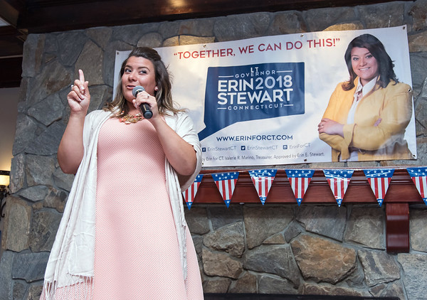 08/13/18 Wesley Bunnell | Staff New Britain Mayor Erin Stewart speaks to her supporters during a primary day eve rally for her Lt. Governor bid on Monday evening at the Back Nine Tavern at Stanley Golf Course.