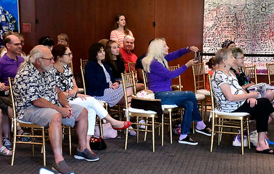 8/18/2018 Mike Orazzi | Staff Part of the crowd on hand to hear the Ed Fast & Conga Bop perform at the New Britain Museum of American Art Saturday in New Britain.