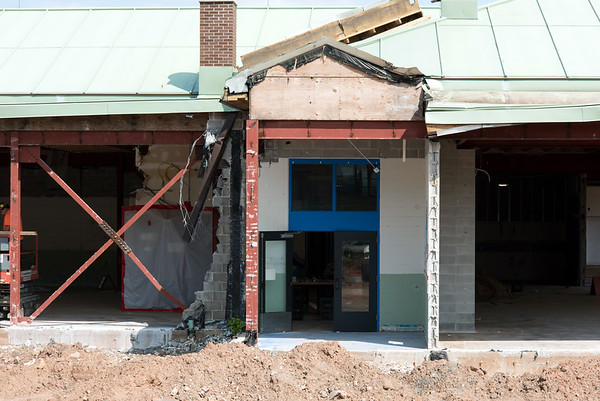 08/21/18 Wesley Bunnell | Staff The front entrance to Smalley Academy is shown amid construction on Tuesday afternoon.