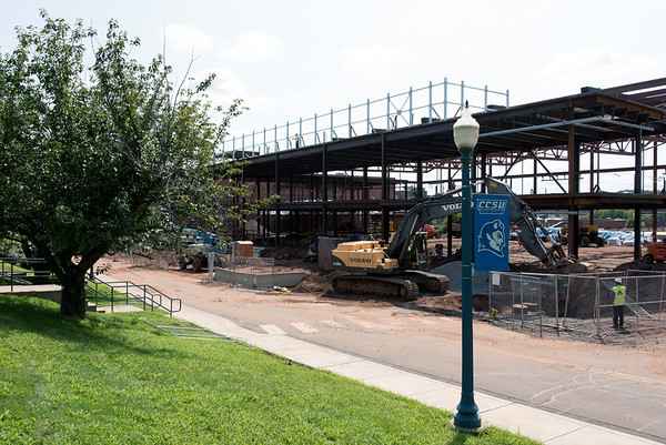 08/21/18 Wesley Bunnell | Staff Construction on Tuesday afternoon on the new Huang Family Recreation Center on the CCSU campus which is replacing the Kaiser Annex.