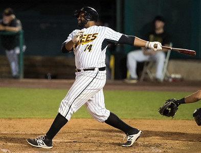 08/22/18  Wesley Bunnell | Staff  The New Britain Bees vs the Road Warriors at New Britain Stadium on Wednesday night. Jason Rogers (14).