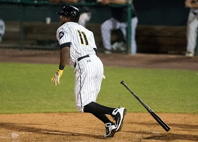 08/22/18  Wesley Bunnell | Staff  The New Britain Bees vs the Road Warriors at New Britain Stadium on Wednesday night. Jamar Walton (11).