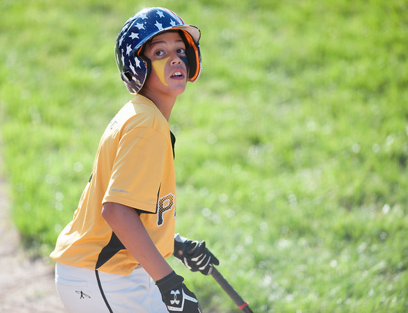 08/23/18 Wesley Bunnell | Staff The Forestville Pirates vs the Edgewood Cubs in the Bristol Little League City Series on Thursday evening at Frazier Field. Gabe Paghense (4) watches a ball go foul over the backstop.
