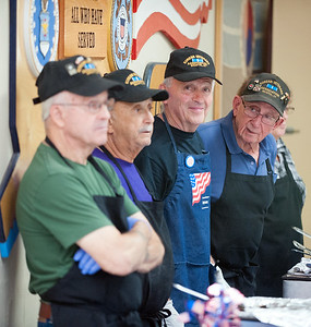08/23/18  Wesley Bunnell | Staff  Retired police and firefighters held their annual dinner at American Legion Post 2 on Thursday evening. Dave Peplau looks down the dinner serving line along with other volunteers.  Ron Bourgoin, L, Jim Bousquet, Dave Peplau and Ed Testa.