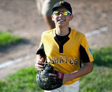 08/23/18  Wesley Bunnell | Staff  The Forestville Pirates vs the Edgewood Cubs in the Bristol Little League City Series on Thursday evening at Frazier Field. Pirates first baseman Greyson Pierce (7).