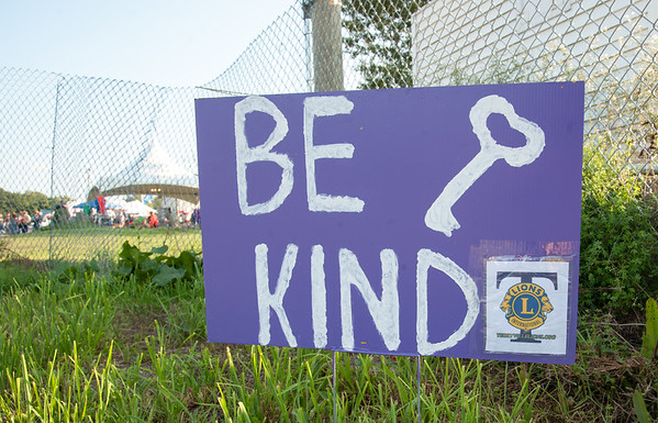 08/24/18 Wesley Bunnell | Staff A Be Kind sing greets visitors to the Terryville Carnival on the opening day on Friday.