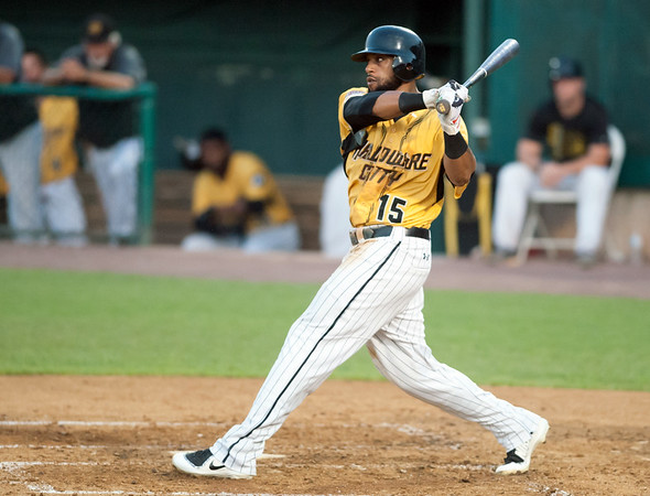 08/28/18 Wesley Bunnell | Staff The New Britain Bees vs the York Revolution on Tuesday night at new Britain Stadium. Darren Ford (15).