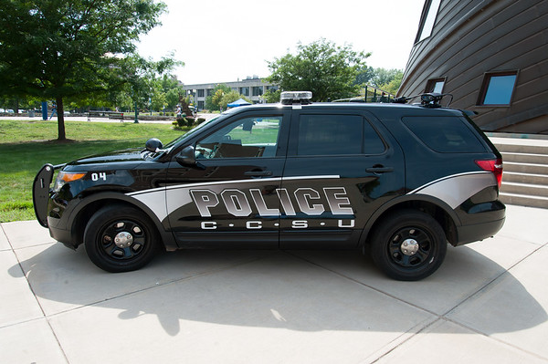 08/28/18 Wesley Bunnell | Staff A CCSU police car parked out side of the student center on the first day of school for the fall semester on Tuesday afternoon.
