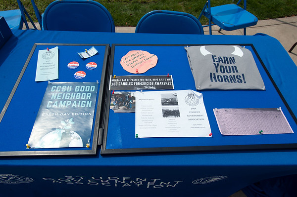 08/28/18 Wesley Bunnell | Staff A table outside of the CCSU Student Center from the Student Government Association on the first day of school for the fall semester on Tuesday afternoon.