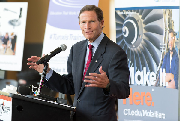 08/10/18 Wesley Bunnell | Staff Senator Richard Blumenthal speaks to attendees during a conference as he visits Tunxis Community College on Friday regarding the importance of the new advanced manufacturing program offered by the school and the demand for advanced manufacturing jobs within Connecticut.