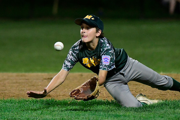 8/10/2018 Mike Orazzi | Staff New Jersey's Leland Ossner (2) during the Eastern Regional Little League Tournament at Breen Field in Bristol Friday night.