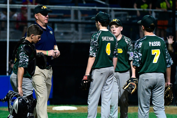 8/10/2018 Mike Orazzi | Staff New Jersey during a loss to Maryland in the Eastern Regional Little League Tournament at Breen Field in Bristol Friday night.
