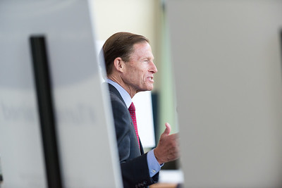 08/10/18  Wesley Bunnell | Staff  Senator Richard Blumenthal is shown between promotional posterboards speaking to the crowd during his visit to Tunxis Community College on Friday regarding the importance of the schools new advanced manufacturing program and the demand for advanced manufacturing jobs within Connecticut.