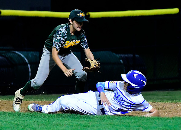 8/10/2018 Mike Orazzi | Staff New Jersey's Leland Ossner (2) runs down Maryland's Lukas Loring (24) during the Eastern Regional Little League Tournament at Breen Field in Bristol Friday night.