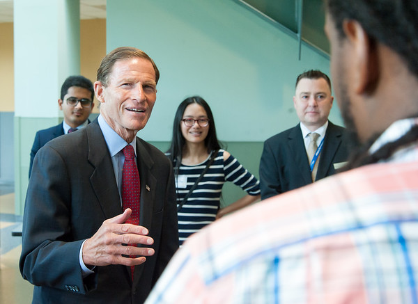 08/10/18 Wesley Bunnell | Staff Senator Richard Blumenthal speaks to Marquel Russel and fellow advanced manufacturing students from programs in the CSCU system during his visit to Tunxis Community College on Friday. The Senator spoke about the importance of the new advanced manufacturing program offered by the school and the demand for advanced manufacturing jobs within Connecticut.