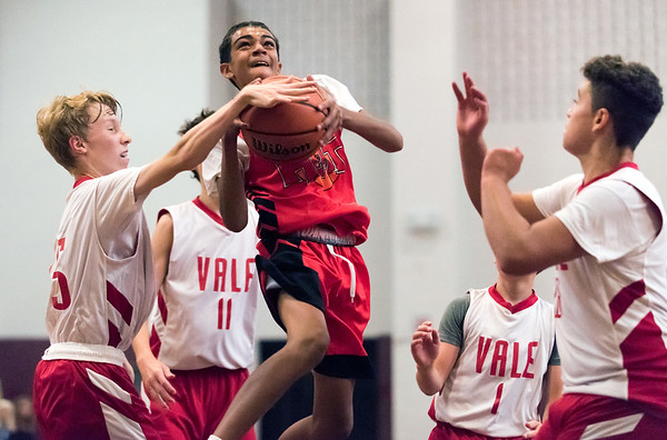 08/01/18 Wesley Bunnell | Staff CT Heat (New Britain) vs Vale in Nutmeg Games boys 14U basketball at New Britain High School on Wednesday evening. Jadyn Green (10).